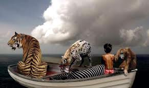 A Bengal tiger,hyena and .... all in the boat!