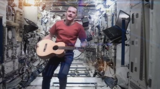 "Who could forget his rendition of Bowie's song ""Space Oddity""? in ISS?"