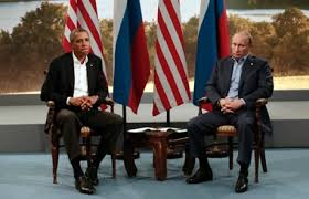 US President Obama (L) and Russian president Putin at G8 meeting Ireland