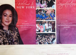 Rosmah was welcomed to New York like a Head of State...but who pays for the NYT advert?