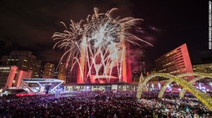Thousands of civilised people come to gather in Toronto Canada to celebrate the New Year peacefully (CNN)