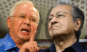 PM Najib on the left. Just answer the question Najib and end this crisis and no need to point your finger.